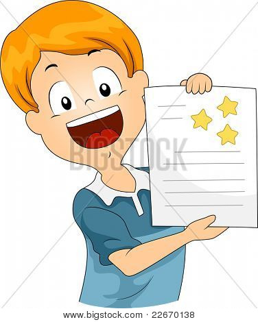 Illustration of a Kid Showing His Star Stickers