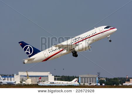 Shows The Passenger Plane Sukhoi Superjet-100.