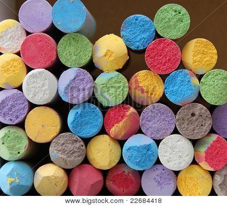 Color tiza close-up