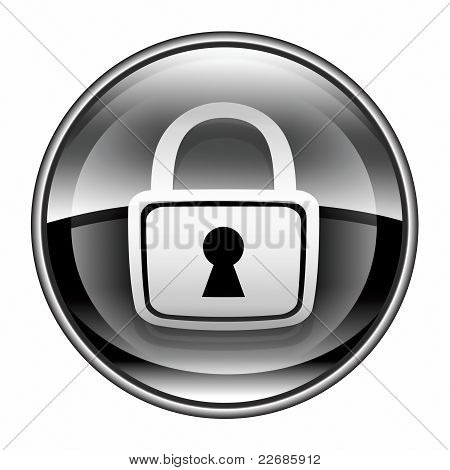Lock Icon Black, Isolated On White Background.