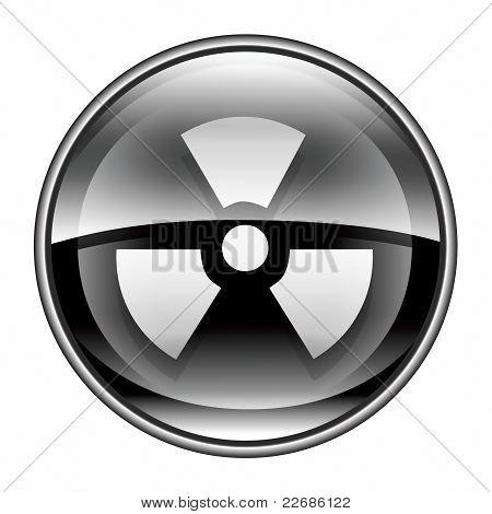 Radioactive Icon Black, Isolated On White Background.