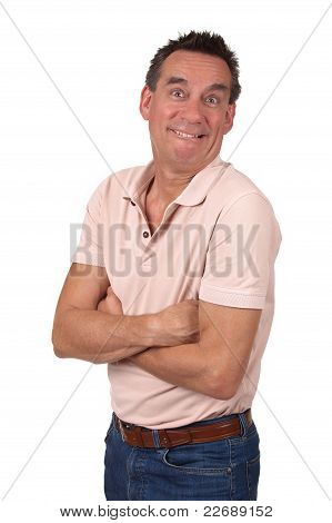 Man Making Silly Funny Smile with Arms Folded