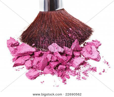 Makeup Brush With Purple Crushed Eye Shadow, Isolated On White Macro