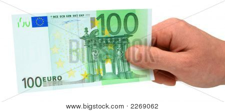 Hand Holding 100 Euro