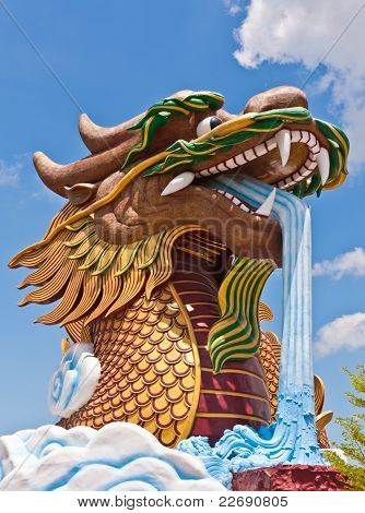 Head Of Golden Dragon Statue