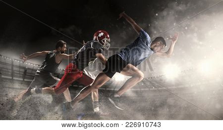 poster of Irresistible In Attack. Multi Sports Collage With Running, Basketball, American Football Players. Co