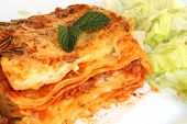 stock photo of lasagna  - pasta lasagna with meat in Italian restaurant - JPG