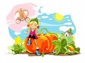 picture of cinderella coach  - Funny girl sitting on big pumpkin - JPG