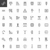 Electrician Elements Line Icons Set, Outline Vector Symbol Collection, Linear Style Pictogram Pack.  poster