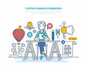 Content Manager Promotion. Work With Data, In Social Networks, Communicate In Social Services, Creat poster