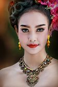 Thai Woman Classical Dancer On Black Background, Woman Wearing Laos Traditional Dress Costume,vintag poster