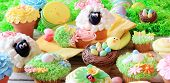 Easter cupcakes and Easter eggs display. Also available in vertical. poster