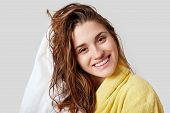 Lovely Female With Wet Hair, Takes Shower, Dries Head With Towel, Being Pleased After Taking Bath, D poster
