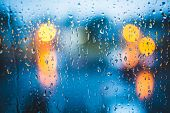 Rain Drops On Window. Peaceful Evening Or Night At Home When Raining Outside. Water Drops On Glass.  poster