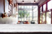 Selected Focus Empty Brown Wooden Table And Coffee Shop Or Restaurant Blur Background With Bokeh Ima poster