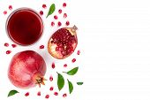 A Glass Of Pomegranate Juice With Fresh Pomegranate Fruits Isolated On White Background With Copy Sp poster