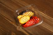 Grilled Vegetables In Slices In A Plastic Container. Delivery At Home, A Quick Snack. Low-calorie, D poster