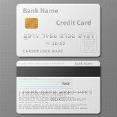 Realistic White Bank Credit Card With Chip Vector Template Isolated. Bank Card With Chip, Credit Pla poster
