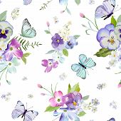 Floral Seamless Pattern With Blooming Flowers And Flying Butterflies. Watercolor Nature Background F poster