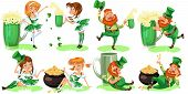 Saint Patrick Day Characters, Leprechaun And Girl With Mug Of Green Beer, Glass Full Alcohol Ale, Dr poster