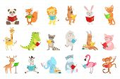Cute Animal Characters Reading Books Set. Childish Cartoon Style Humanized Animals Vector Stickers I poster