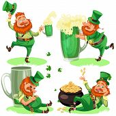 Saint Patrick Day Characters, Leprechaun With Mug Of Green Beer, Glass Full Alcohol Ale, Drunk Man I poster