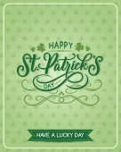 Happy St Patrick Day Irish Holiday Greeting Card On Shamrock Clover Leaf Pattern Background. Vector  poster