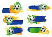 Soccer Game Sport Cup Tournament Or Football League Match Backdrops Design Templates Of Blue, Yellow poster