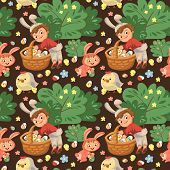 Seamless Pattern Boy Smile Hunting Decorative Chocolate Egg Under Brush In Easter Bunny Costume With poster