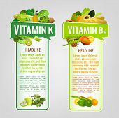 Vitamin K And Vitamin B9 Banners With Place For Text. Vertical Vector Illustrations With Caption Let poster