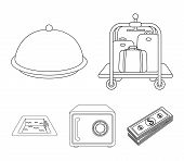 Trolley With Luggage, Safe, Swimming Pool, Clutch.hotel Set Collection Icons In Outline Style Vector poster