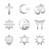 Religion Symbols. Silver Signs Of Major World Religious Groups And Religions. Christianity, Islam, H poster