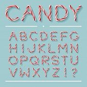 Candy Cane Font. Bright Twisted Red And White Lollypop Letters With Light Grey Shadow Isolated On Mi poster