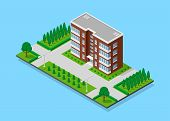 Picture Of Appartent House With Footpaths, Trees And Street Lights, Low Poly Town Building, Isometri poster