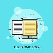Electronic Book. Concept Of Modern Electronical Device Or Mobile Gadget For Reading, E-book With Mon poster