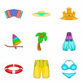 Beach Trip Icons Set. Cartoon Set Of 9 Beach Trip Vector Icons For Web Isolated On White Background poster