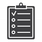 Checklist Glyph Icon, Clipboard And Note, Checkmark Sign Vector Graphics, A Solid Pattern On A White poster