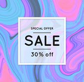 Sale. Marbling. Marble Texture. Discount. Vector Abstract Colorful Background. Paint Splash. Colorfu poster