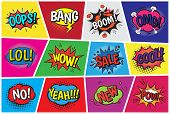Pop Art Comic Vector Speech Cartoon Bubbles In Popart Style With Humor Text Boom Or Bang Bubbling Ex poster