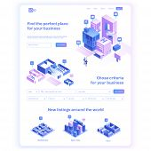 Find Commercial Real Estate For Your Business. Choose Criteria For Office. Isometric Vector Illustat poster