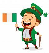 Cartoon Funny Leprechaun With Irish Flag And Cane poster