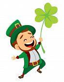 Cartoon Funny Leprechaun With Clover poster