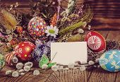 Easter Composition With Easter Eggs And Flowers, With An Empty Tag, Easter Decoration. Easter Card.  poster