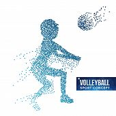 Volleyball Player Silhouette Vector. Grunge Halftone Dots. Dynamic Volleyball Athlete In Action. Dot poster
