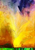 Vivid Abstract Painting. Paint drops. 3D rendering poster