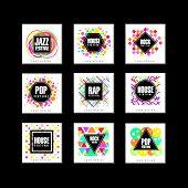Music Festival Logo Set, Classic, House, Pop, Rap, Jazz Music Design Element Vector Illustrations On poster