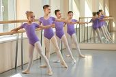 Young Ballerinas Having Rehearsal At Ballet School. Pretty Young Ballet Dancers Training At Ballet B poster