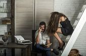 Bearded Man And Sexy Woman On Ladder. Couple In Love Read Book Together. Desire To Learn, Study. Edu poster