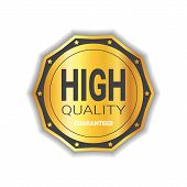 High Quality Sticker Golden Medal Icon Guaranteed Seal Isolated Vector Illustration poster