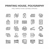 Printing House Flat Line Icons. Print Shop Equipment - Printer, Scanner, Offset Machine, Plotter, Br poster